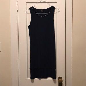 Navy studded high low dress